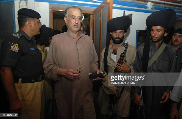 Talal Bugti son of slain rebel tribal chief Nawab Akbar Bugti comes out at a police station after submitting application of his father killing in...
