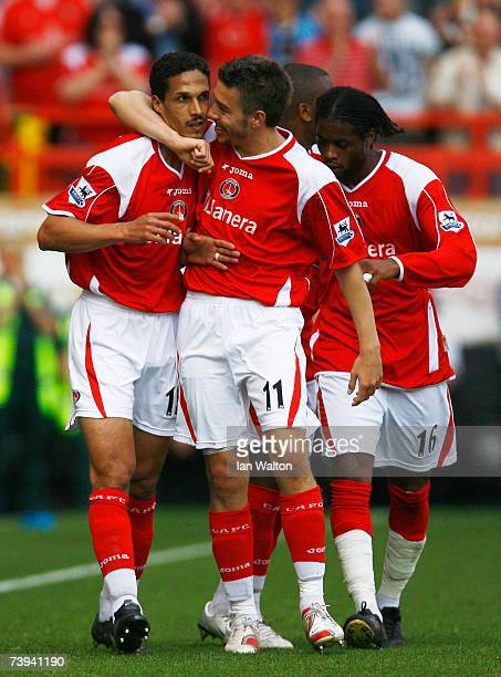 Talal El Karkouri of Charlton Athletic celebrates with Darren Ambrose after scoring during the Barclays Premiership match between Charlton Athletic...