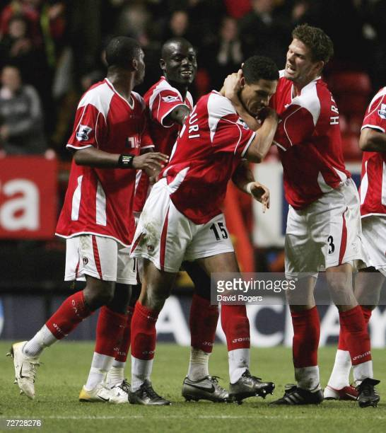 Talal El Karkouri of Charlton Athletic celebrates with team mates after scoring the last minute winning goal during the Barclays Premiership match...