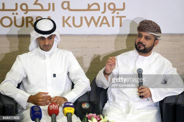 Talal Said AlMamari CEO of Omantel CEO speaks during a joint press conference with Zain vicechairman and Group CEO Bader AlKharafi at the Boursa...