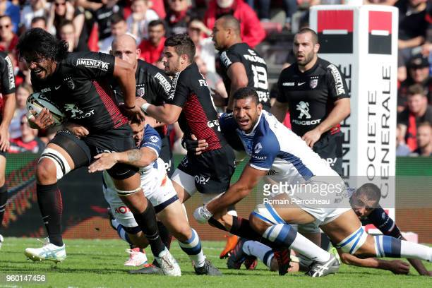 Talalelei Gray of Toulouse in action during the French Top 14 match between Stade Toulousain and Castres at Stade Ernest Wallon on May 19 2018 in...