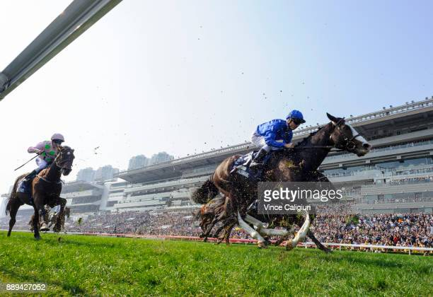 Talasmanic finishing runner up in Race 4 The Longines Hong Kong Vase during Longines Hong Kong International Race Day at Sha Tin Racecourse on...