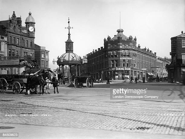 Talbot Square in Blackpool with the Theatre Royal and Talbot Dining Rooms in the background circa 1893