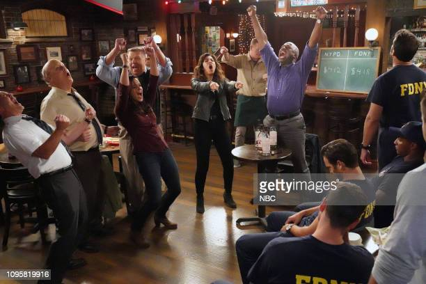 NINE A Tale of Two Bandits Episode 606 Pictured Joe Lo Truglio as Charles Boyle Dirk Blocker as Hitchcock Melissa Fumero as Amy Santiago Joel...
