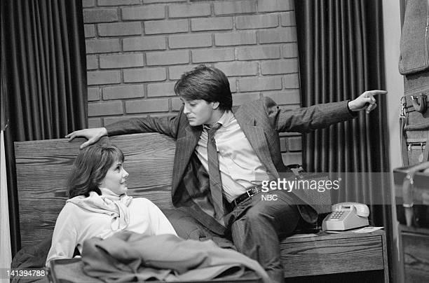 TIES A Tale of Two Cities part 2 Episode 18 Aired Pictured Melinda Culea as Rebecca Ryan Michael J Fox as Alex P Keaton Photo by NBCU Photo Bank
