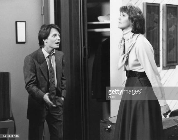 TIES A Tale of Two Cities Part 2 Episode 18 Pictured Michael J Fox as Alex P Keaton Melinda Culea as Rebecca Ryn Photo by NBC/NBCU Photo Bank