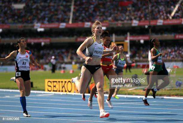 Talea Prepens of Germany crosses the finish line to win gold in the final of the girls 200m on day five of the IAAF U18 World Championships at The...