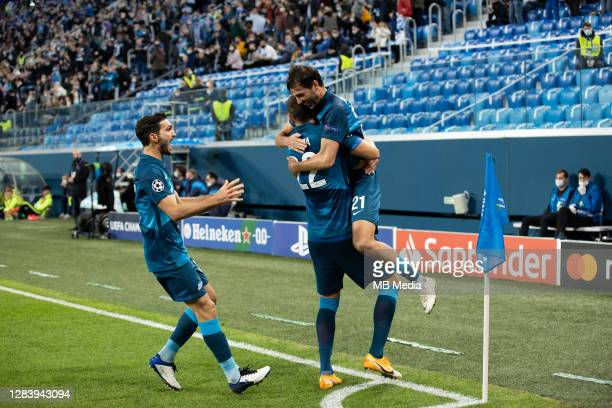 TAleksandr Yerokhin celebrates his goal for Zenit St Petersburg during the UEFA Champions League Group F stage match between Zenit St. Petersburg and...