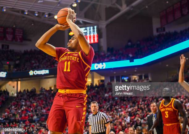 Talen HortonTucker of the Iowa State Cyclones shoots the ball during the second half of the game against the Texas Tech Red Raiders on January 16...