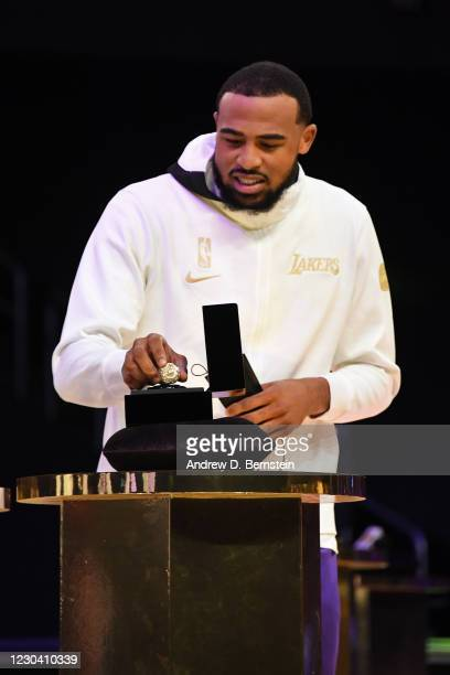 Talen Horton-Tucker of the Los Angeles Lakers reacts as he gets his 2019-20 NBA Championship ring during the ring ceremony before the game against...