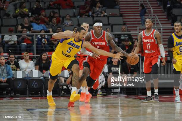 Talen HortonTucker of the South Bay Lakers battles Jarred Vanderbilt of the Rio Grande Valley Vipers for a loose ball during an NBA GLeague game on...