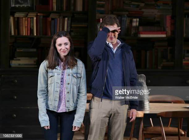 Talene Monahon and Hugh Dancy during the Opening Night Curtain Call Bows for the Roundabout Theatre Company production of 'Apologia' on October 16...