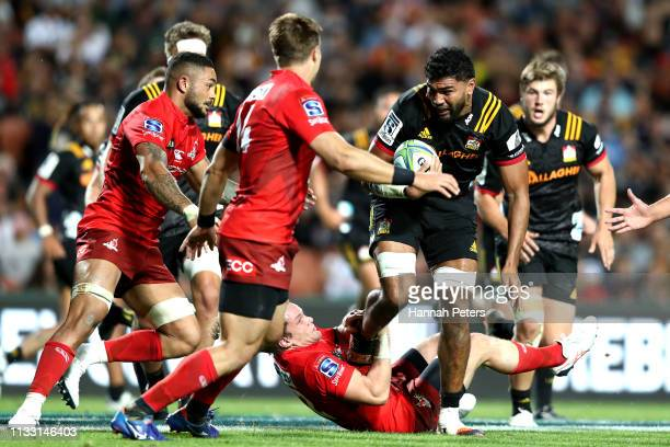 Taleni Seu of the Chiefs charges forward during the round three Super Rugby match between the Chiefs and the Sunwolves at FMG Stadium Waikato on...