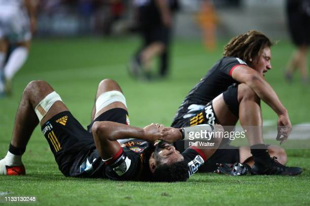Taleni Seu of the Chiefs shows his disapointment during the round three Super Rugby match between the Chiefs and the Sunwolves at FMG Stadium Waikato...
