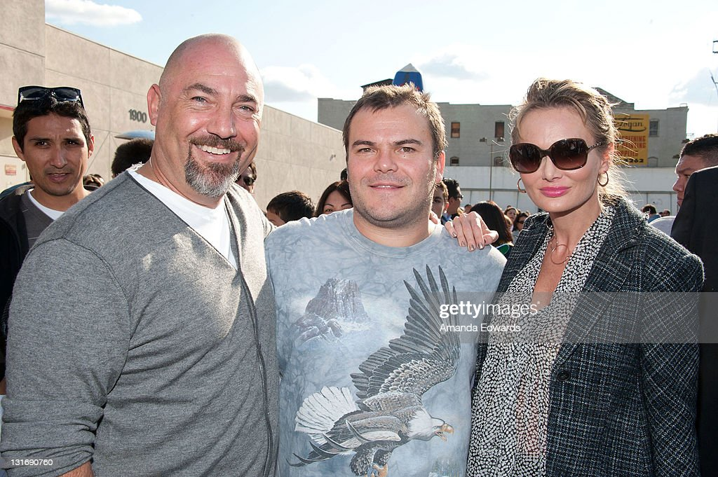 Talent agent Adam Venit, actor Jack Black and Trina Venit attend the Yahoo! Sports Presents A Day Of Champions event at the Sports Museum of Los Angeles on November 6, 2011 in Los Angeles, California.