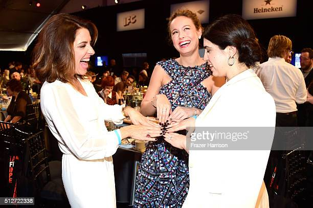 Talent agent Adriana Alberghetti actress Brie Larson and Paramount EVP Elizabeth Raposo attend the 2016 Film Independent Spirit Awards on February 27...