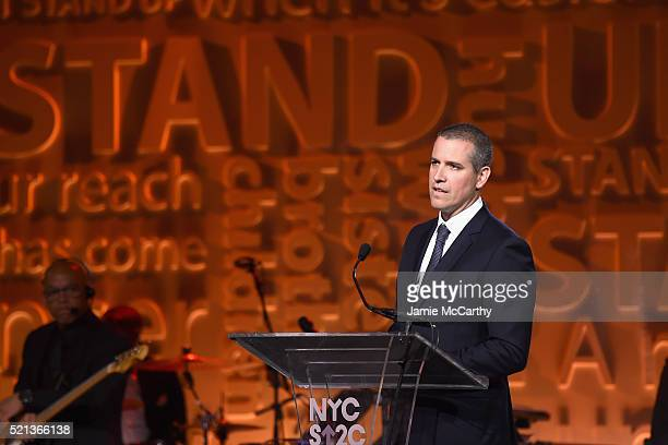 Talent agent and event chair Jim Toth speaks onstage during Stand Up To Cancer's New York Standing Room Only presented by Entertainment Industry...