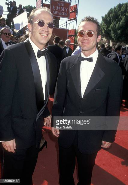 Talent agent Bryan Lourd and talent agent Richard Lovett attend the 47th Annual Primetime Emmy Awards on September 9 1995 at Pasadena Civic...