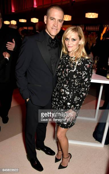 Talent agent Jim Toth and actor Reese Witherspoon attend the 2017 Vanity Fair Oscar Party hosted by Graydon Carter at Wallis Annenberg Center for the...