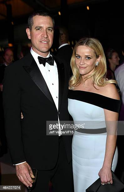 Talent agent Jim Toth and actress Reese Witherspoon attend the 2015 Vanity Fair Oscar Party hosted by Graydon Carter at the Wallis Annenberg Center...