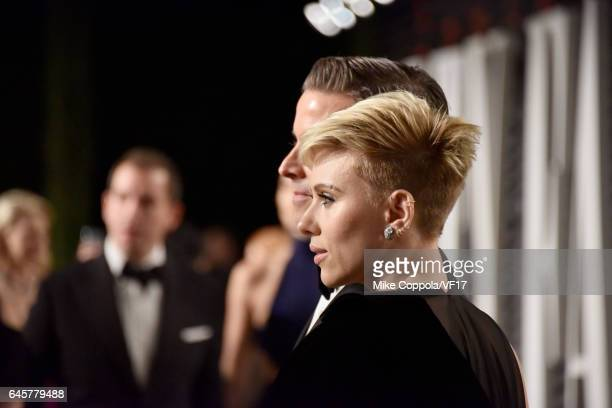 Talent agent Joe Machota and actor Scarlett Johansson attend the 2017 Vanity Fair Oscar Party hosted by Graydon Carter at Wallis Annenberg Center for...