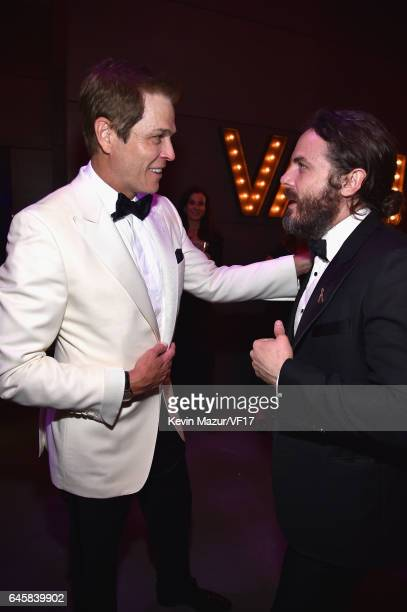 Talent agent Patrick Whitesell and actor Casey Affleck attend the 2017 Vanity Fair Oscar Party hosted by Graydon Carter at Wallis Annenberg Center...