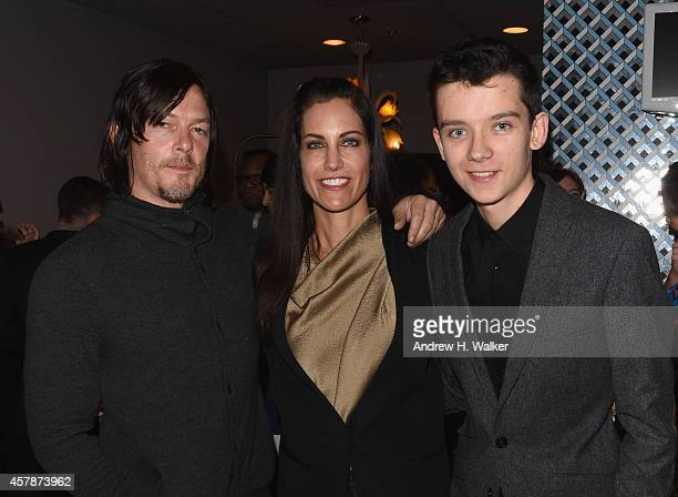 Talent Agent Tracy Brennan poses with actors Norman Reedus and Asa Butterfield at Trustees Theater during Day One of the 17th Annual Savannah Film...