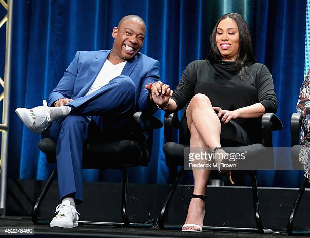 Talent Ja Rule and Aisha Atkins speak onstage during the Follow the Rules panel discussion at the Viacom Networks portion of the 2015 Summer TCA Tour...
