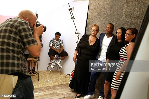 Talent Jordie Atkins Grandma Deb Ja Rule Aisha Atkins and Grandma Jean of Viacom Networks' 'Follow the Rules' attend the Getty Images Portrait Studio...