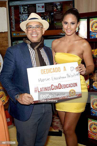 Talent manager Porfirio Pina and Miss New York USA 2015 Tatiana Diaz attend the gift lounge during the 16th Latin GRAMMY Awards at the MGM Grand...