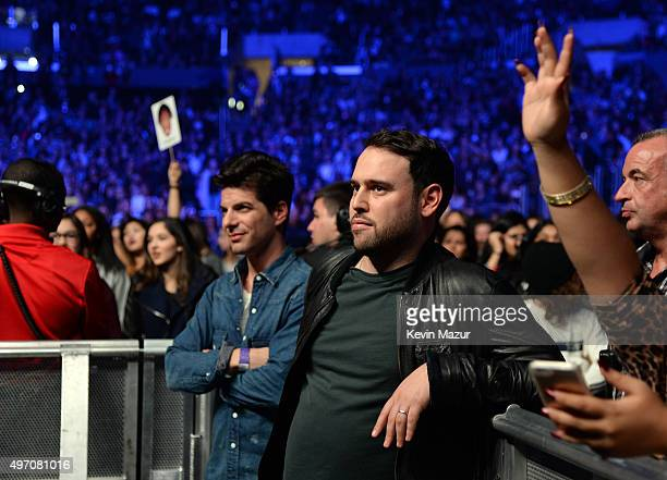 Talent manager Scooter Braun watches the show during an evening with Justin Bieber to celebrate the release of 'Purpose' at Staples Center on...