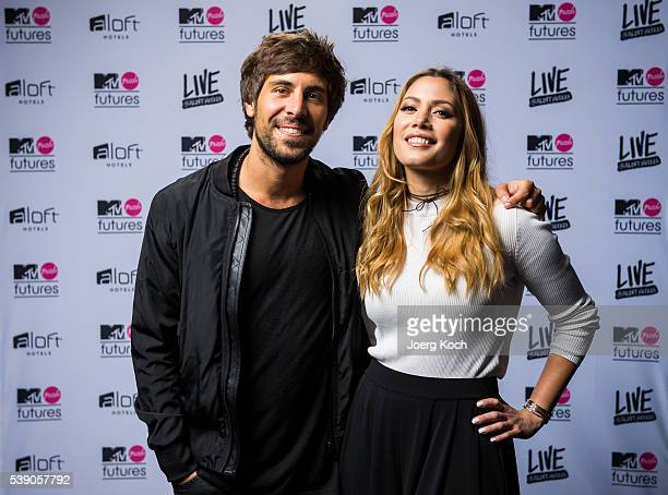 Talent Max Giesinger and YouTube social influencer special guest Mira pose during the event 'MTV PUSH FUTURES LIVE AT ALOFT HOTELS' on June 9 2016 in...