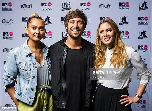 Talent Max Giesinger Host Wana Limar and YouTube social influencer special guest Mira pose during the event 'MTV PUSH FUTURES LIVE AT ALOFT HOTELS'...