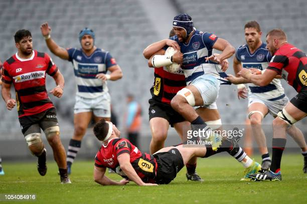 Talent Seu of Auckland is tackled during the Mitre 10 Cup Premiership Final match between Auckland and Canterbury at Eden Park on October 27 2018 in...