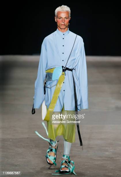Tales Cotta walks the runway during the Ocksa fashion show during Sao Paulo Fashion Week N47 Summer 2020 at Arca on April 27 2019 in Sao Paulo Brazil