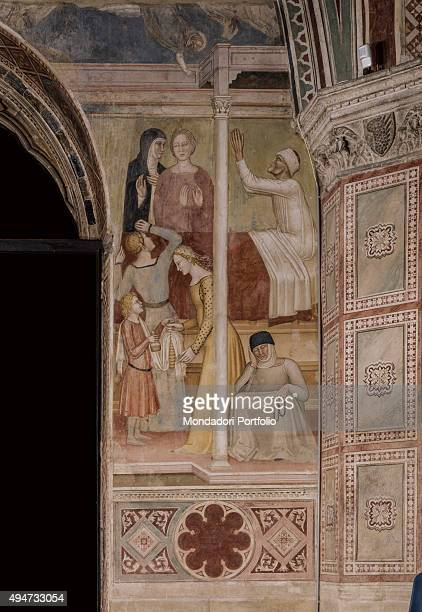 Tales of St Peter Martyr by Andrea di Bonaiuto 13651367 14th Century fresco Italy Tuscany Florence Church of Santa Maria Novella Detail The scene...
