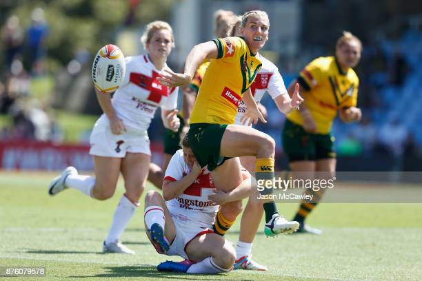 Talesha Quinn of Australia passes the ball during the 2017 Women's Rugby League World Cup match between Australia and England at Southern Cross Group...