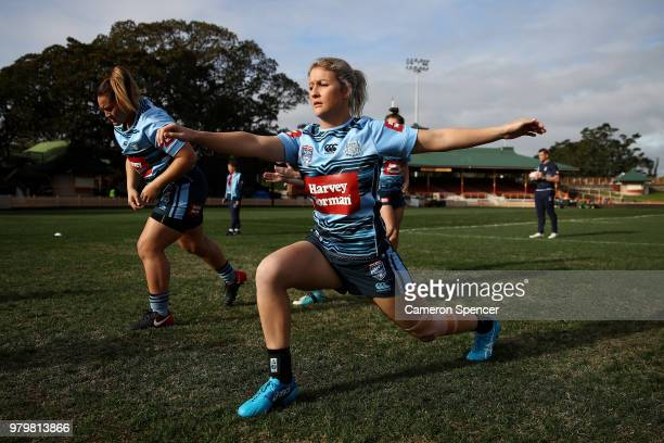 Talesha Quinn of the Blues stretches during the New South Wales women's State of Origin captain's run at North Sydney Oval on June 21 2018 in Sydney...