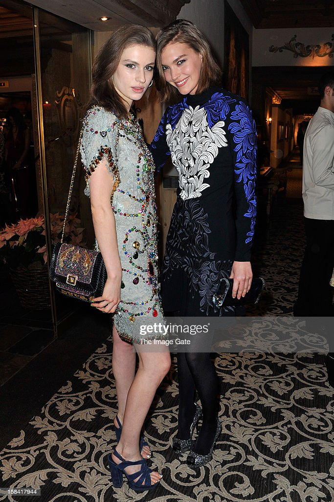 Tali Lennox and Arizona Muse attend the ASMALLWORLD Gala Dinner for Alzheimer Society at the Gstaad Palace Hotel on December 15, 2012 in Gstaad, Switzerland.