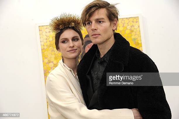 Tali Lennox and Ian Jones attend the Tali Lennox Exhibition Opening Reception at Catherine Ahnell Gallery on March 18 2015 in New York City