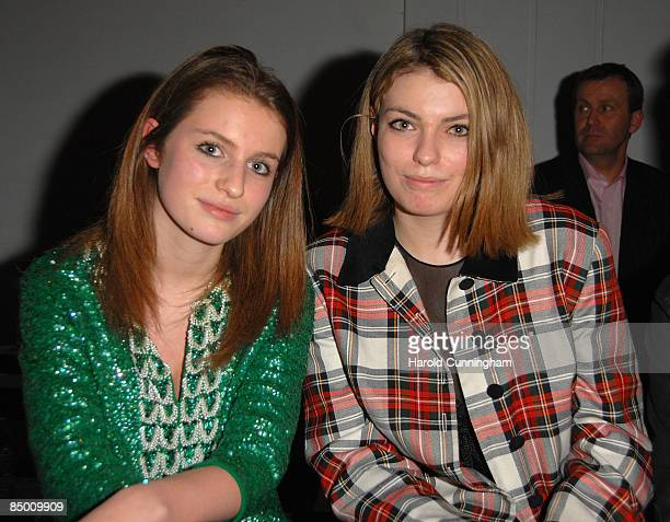 Tali Lennox and Lola Lennox attend the On|Off London Fashion Week a/w 2009 Front Row on February 23 2009 in London England