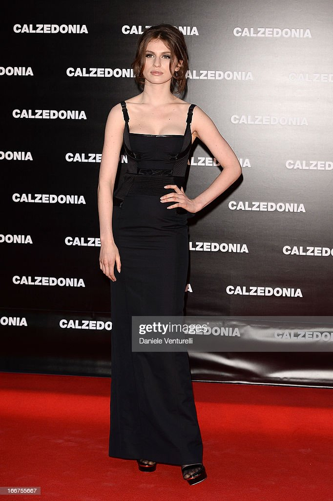 Tali Lennox arrives at the Calzedonia 'Forever Together' show on April 16, 2013 in Rimini, Italy.