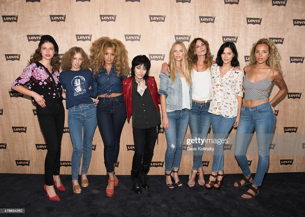 Tali Lennox, Petra Collins, Jillian Hervey, Joan Jett, Marloes Horst, Erin Wasson, Leigh Lezark and Phoebe Collings-James attends the Levi's Women's Collection Exhibition Launch at The Levi's Store Times Square on July 7, 2015 in New York City.