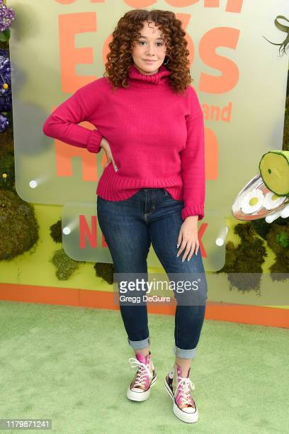 Talia Jackson arrives at the Premiere Of Netflix's Green Eggs And Ham at Hollywood American Legion on November 3 2019 in Los Angeles California