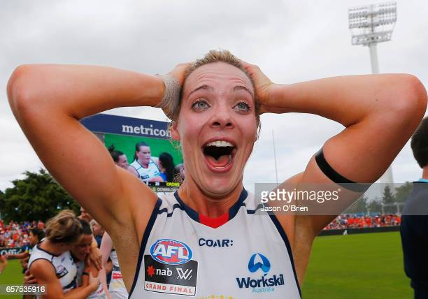 Talia Radan of the Crows celebrates during the AFL Women's Grand Final between the Brisbane Lions and the Adelaide Crows on March 25 2017 in Gold...