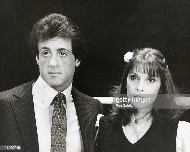 Talia Shire Sylvestor Stallone during Press Conference For Rocky III at Los Angeles Sports Arena in Los Angeles California United States