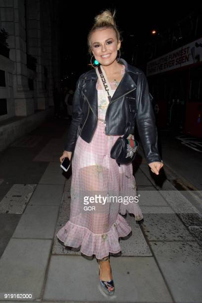 Talia Storm seen attending the Wonderland MTV party at the Ned hotel during LFW February 2018 on February 16 2018 in London England