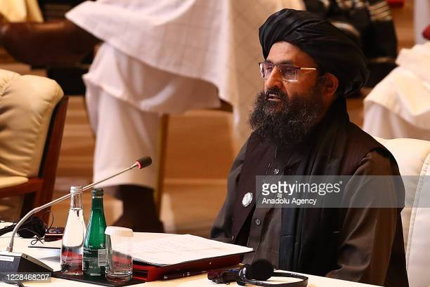 Taliban co-founder Mullah Abdul Ghani Baradar attends intra-Afghan peace talks between the Afghan government and Taliban insurgents commenced in the...