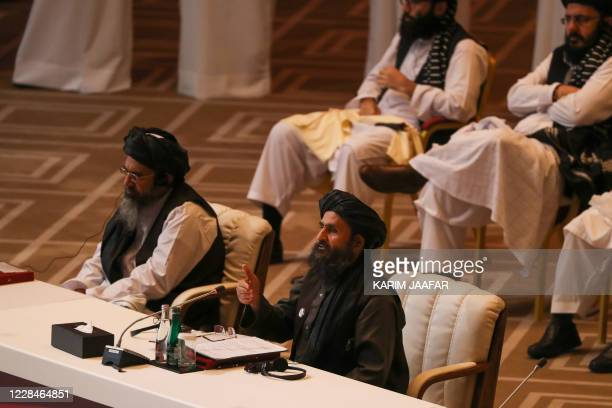 Taliban co-founder Mullah Abdul Ghani Baradar speaks during the opening session of the peace talks between the Afghan government and the Taliban in...