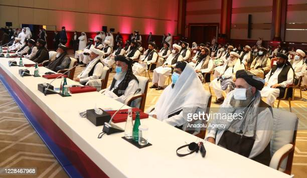 Taliban delegation members attend intra-Afghan peace talks between the Afghan government and Taliban insurgents commenced in the Qatari capital Doha...